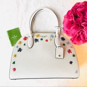 New Kate Spade LG White Floral Large Dome Satchel
